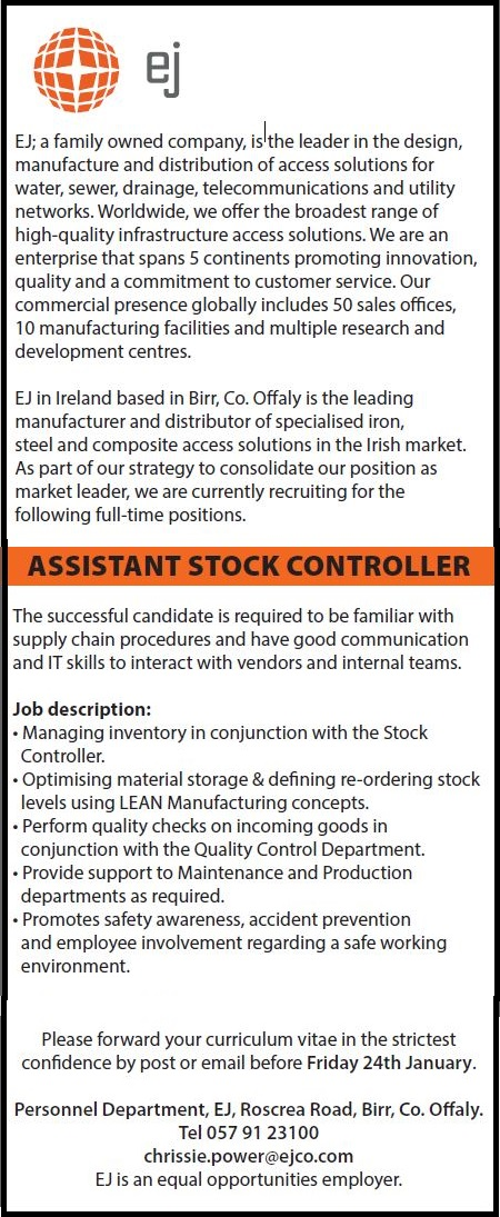 assistant stock controller