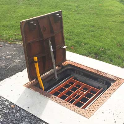 ductile iron hinged hatch-open