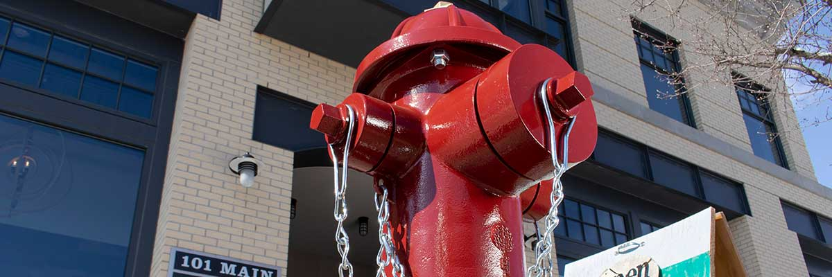 Red WaterMaster 5CD350 fire hydrant assembly outside of storefront